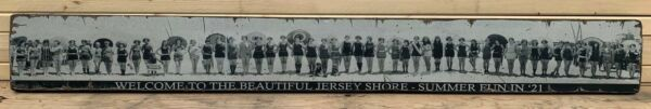 Antique Rustic Style Beach Babes Panoramic Wood Printed Sign AWESOME 6x48