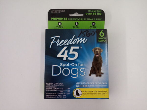 Freedom 45 Spot On FleaTick Control for Dog X-Large Dog Over 66 LBS 6PK $19.19