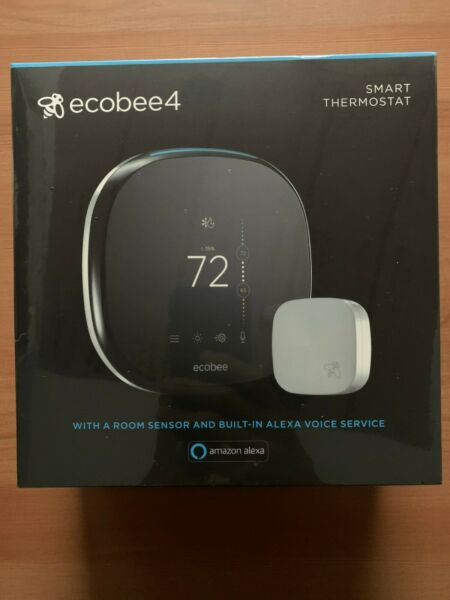 ecobee 4 Smart Thermostat with Room Sensor Alexa-Enabled EB-STATE4-01
