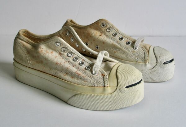 Vintage Converse Jack Purcell Platform Shoes Canvas White NOS Men 6.5 Women 7.5