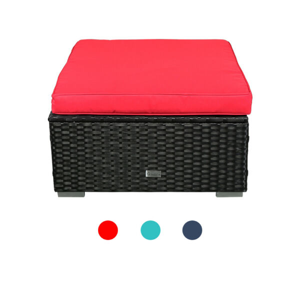 Black Wicker Patio Ottoman Sectional Outdoor Foot Stool Sofa Couch Furniture $79.99
