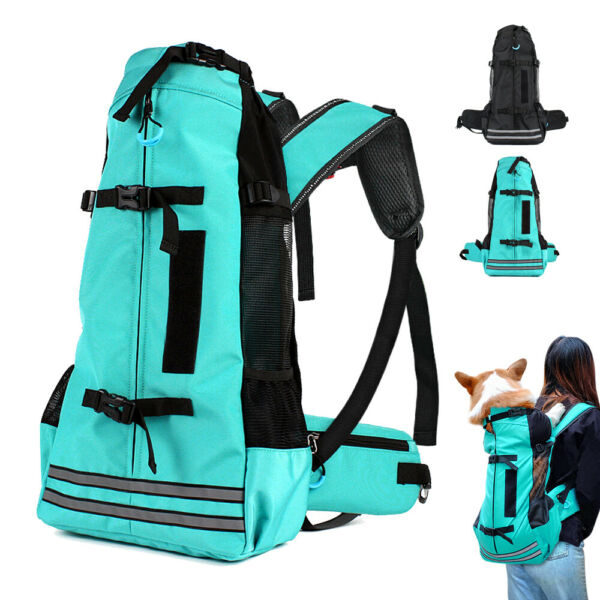 Reflective Dog Backpack Carriers Pet Travel Biking Hiking Bags Medium Large Dogs $42.99