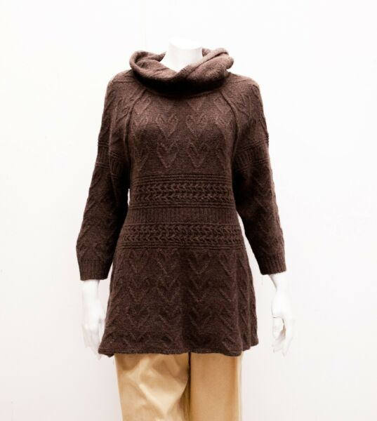 Sleeping on Snow Anthropologie Brown Frefaxi Cowl Cable Knit Tunic Sweater XL