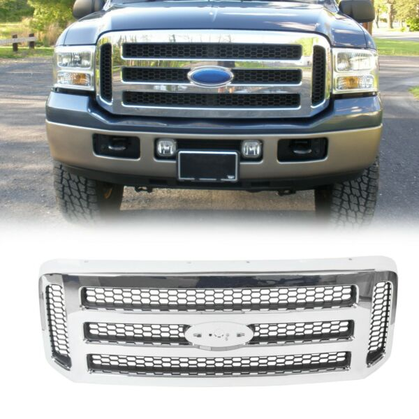 Ford Chrome Grille 05-07 Super Duty For 99-04 F250 F350 Conversion Grill