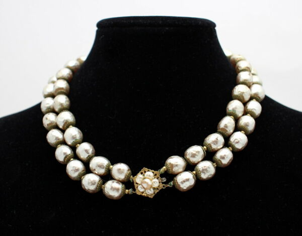 VINTAGE MIRIAM HASKELL DOUBLE STAND FAUX BAROQUE PEARL CHOKER NECKLACE $249.99