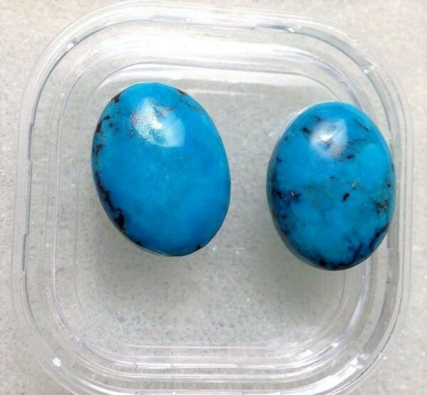 Matched Pair 12x16mm Oval Cabochon Stabilized Natural Mexican Turquoise 15.45CTW