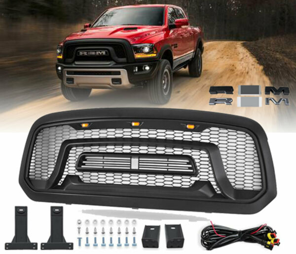 Front Grill Mesh Grille Rebel Style For 2013-2018 Dodge Ram 1500 w/LED lights