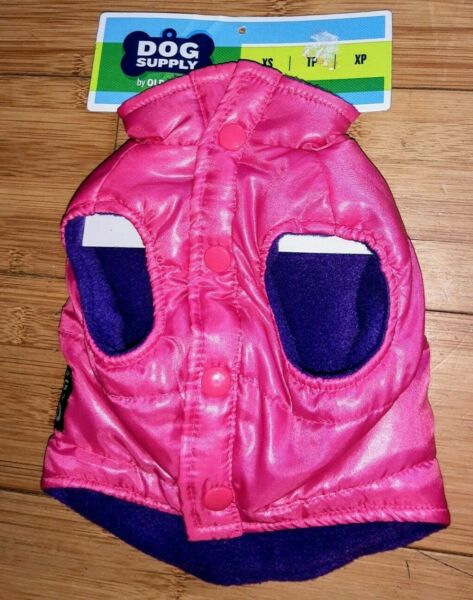 Old Navy Dog Supply Pink Purple Quilted Ski Team Puffer Vest Pet Coat Jacket XS $15.95