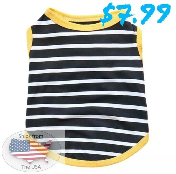 Dog Small Shirt Black And White Stripped Shirt With Yellow Trim $7.99