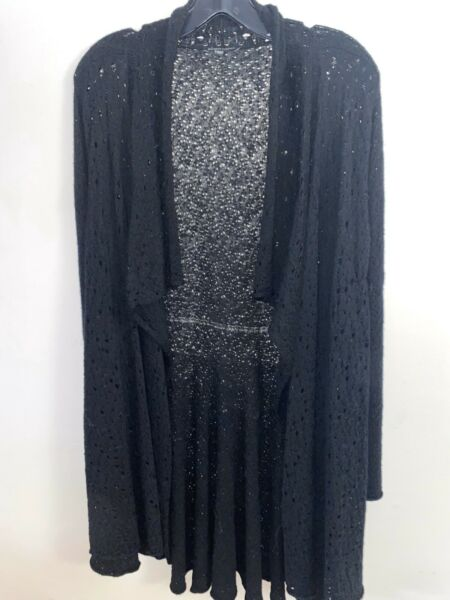 EILEEN FISHER HOLEY KNIT LONG PEPLUM CARDIGAN BLACK MEDIUM