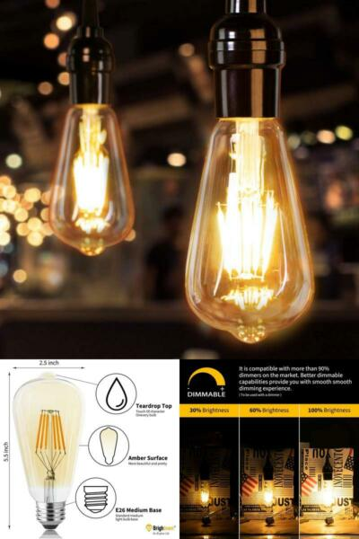 Led Edison Bulb Dimmable 60 Watt Equivalent E26 Base Vintage 6Pcs 60 Watt
