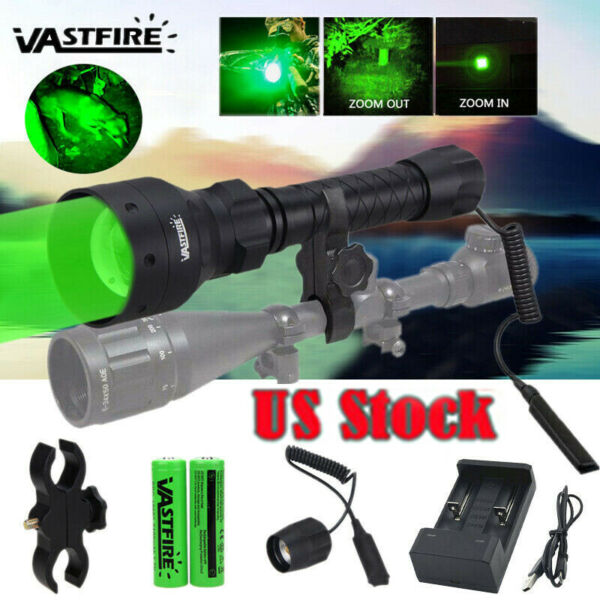 T50 500 Yard Zoom Green LED Flashlight Predator Varmint Hog Hunting Light Mount