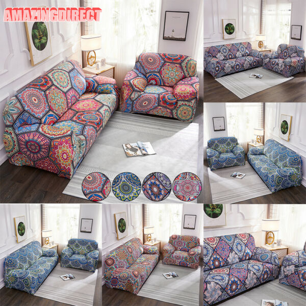Bohemian Stretch Slipcover Sofa Cover Printed Morocco Slipcover Home Decoration $35.79