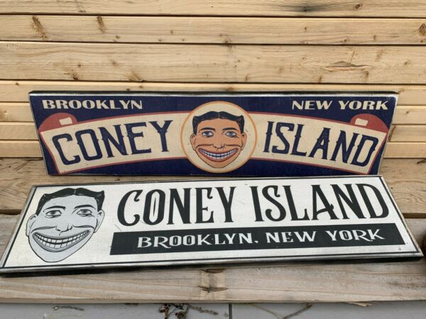 2 Antique Rustic Style Coney Island Wooden Signs 6x24 each