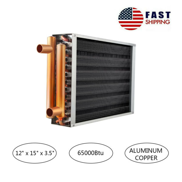 AB Water to Air Heat Exchanger 12x15 1quot; Copper Ports Hot Water Coil Outdoor Wood $102.90