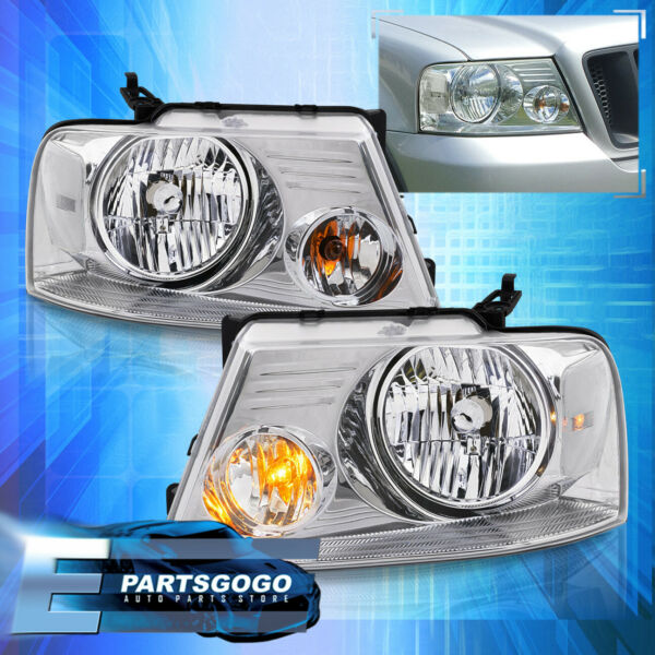 For 04-08 Ford F150 Lincoln Mark LT Chrome Clear Replacement Headlights Lamps