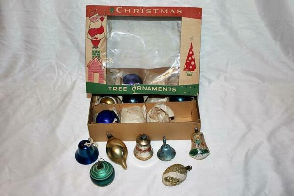Vintage Assortment of Christmas Tree Ornaments Glass-Metal Bells-Striped-more