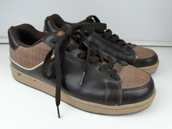 Bitter amp; Twisted Mens size 10.5 Shoes Leather Canvas Sneakers Brown Lace Up