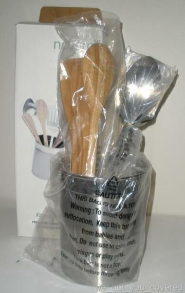 NIB Natural Home 8 Piece Bamboo Stainless Cooking Utensil Kitchen Tool Set
