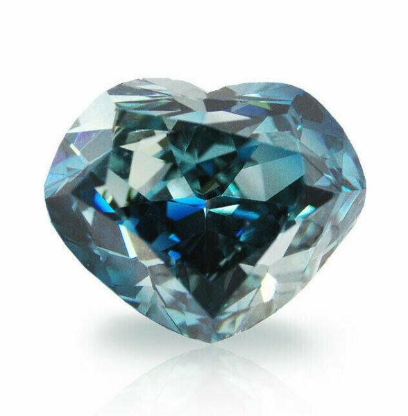 0.52 Carat Fancy Deep Green Blue Diamond GIA Certified Natural Color Heart