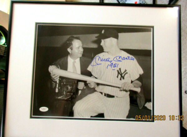 MICKEY MANTLE AUTOGRAPHED W1951 16X20 FRAMED MATTED PHOTO JSA YANKEES HALL OF F