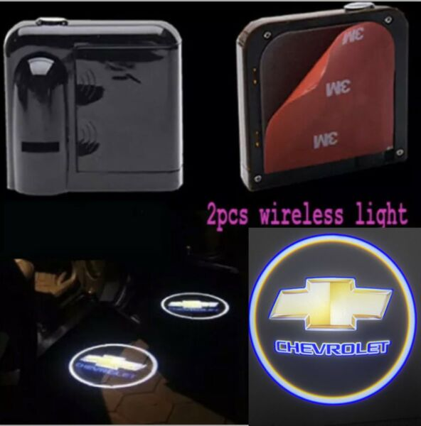 2×For Chevrolet Wireless LED Courtesy Car Logo Door Ghost Shadow Projector Light