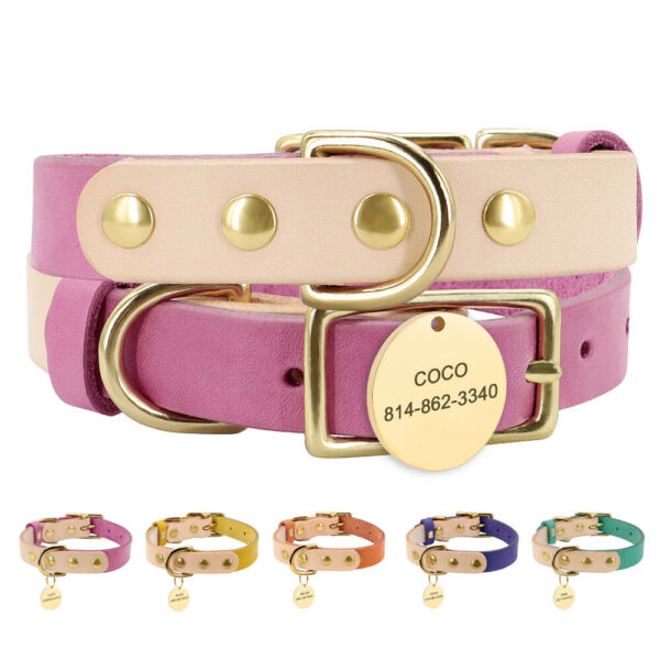Personalized Pet Dog Leather Collars amp; Engraved ID Tags for Small Medium Dog Cat $14.99
