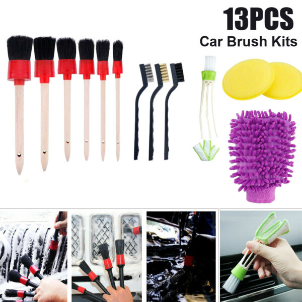 13pcs Car Detailing Brush Kit Boar Hair Auto Interior Fit For Wheel Cleaning