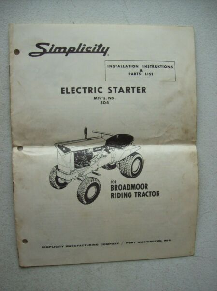 Original Simplicity Electric Starter 304 for Broadmoor Owners Parts Manual