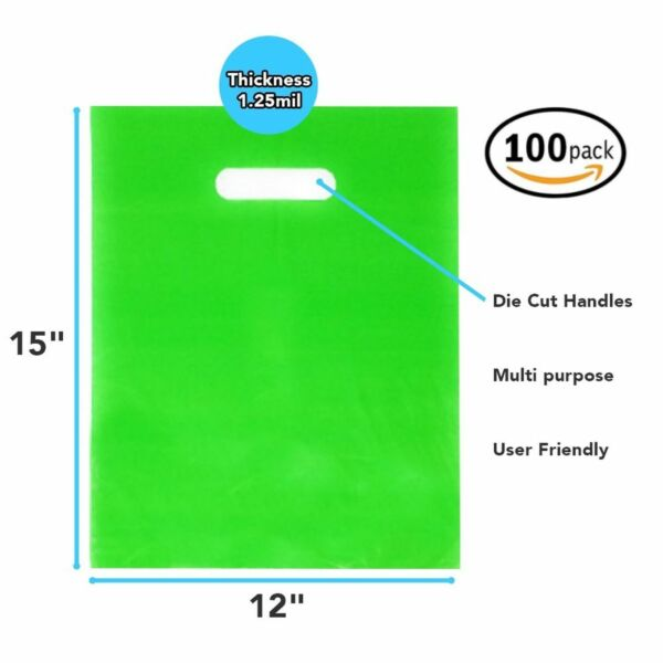 100 Pack 12quot; x 15quot; x 1.25mil Thick Green Merchandise Plastic Glossy Retail Bags