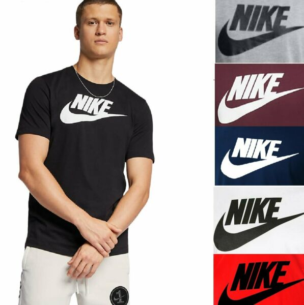 Nike Men#x27;s Athletic Wear Short Sleeve Logo Swoosh Printed Gym Active T Shirt