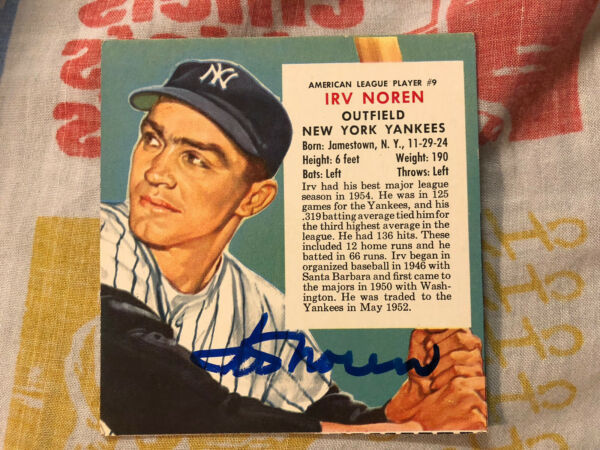 1955 Red Man Baseball Card Autographed Irv Noren New York Yankees Deceased