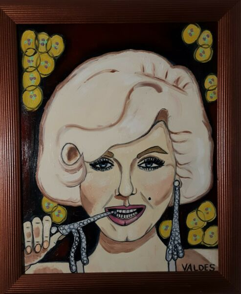 DMVAG THE MONROE ORIGINAL PORTRAIT OIL PAINTING 16x20 in wood frame signed