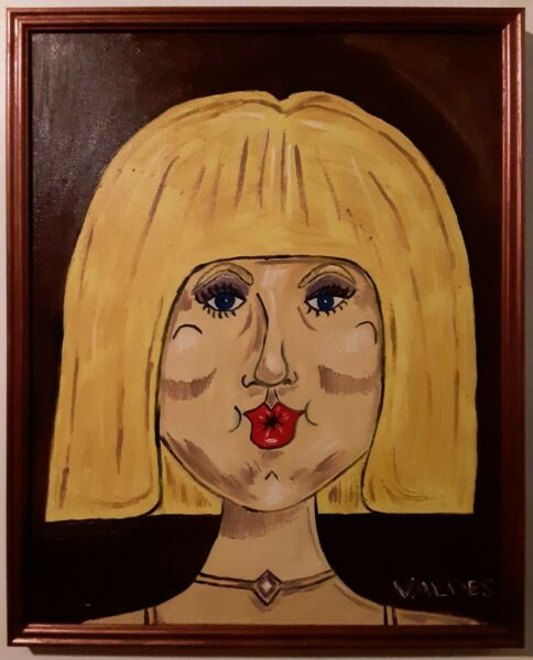 DMVAG DOLLY ORIGINAL PORTRAIT OIL PAINTING 16x20 in wood frame signed