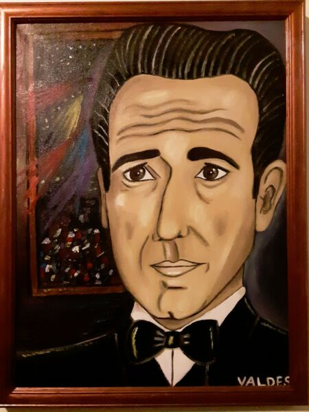 DMVAG  THE BOGART ORIGINAL OIL PAINTING 18x24 in wood frame signed