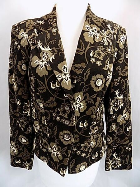 Willi Smith Women's Corduroy floral Print Jacket Sz 12 Lined  3 Button Front