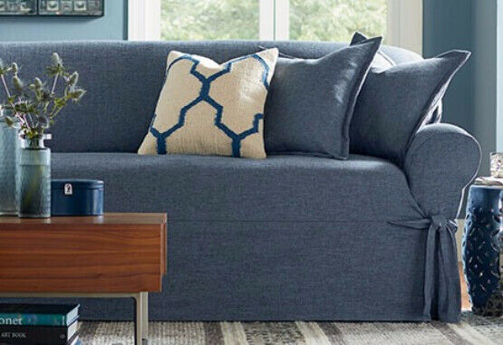 NEW Sofa size textured linen indigo blue Slipcover sure fit 100% polyester $79.95