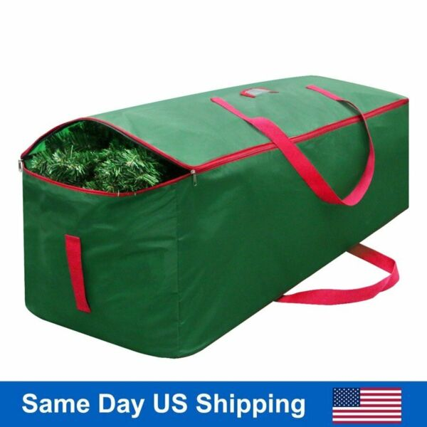 Green Christmas Tree Storage Bag Deluxe Large Holiday Up to 9 Ft Trees w Handles