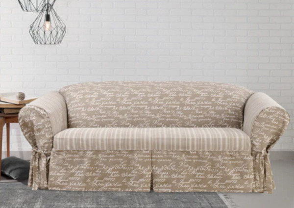 Sure Fit Vintage Script 1 Piece Sofa Slipcover with Cord tan $44.95