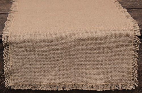 New Country Primitive Rustic Farmhouse Chic NATURAL BURLAP Tan Table Runner 36quot;