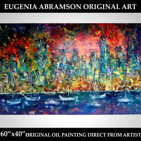 CHICAGO ORIGINAL OIL Palette knife TEXTURED PAINTING Canvas 60
