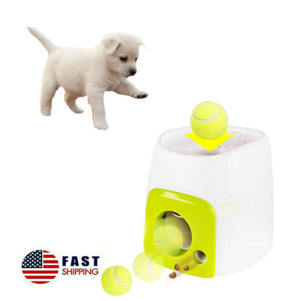 Pet Dog Toy Interactive Training Feeding Thrower Automatic Launcher Tennis Ball $45.99
