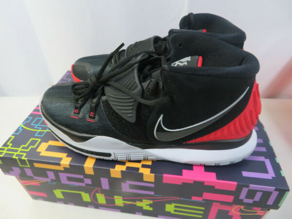 Nike Kyrie Irving 6 Bred Basketball Shoes Black Red BQ4630-002 Mens Size 10.5