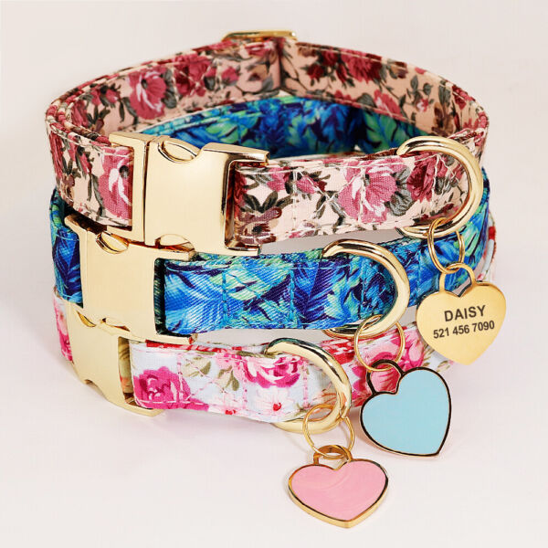 Floral Dog Personalized Collars Custom Heart Pet Dog ID Tag Name Number Engraved $9.99