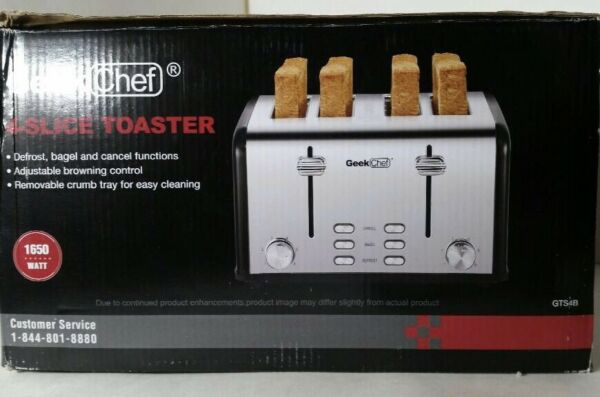 Geek Chef 4 Slice Toaster Stainless Steel Extra Wide Slot Toaster with Dual