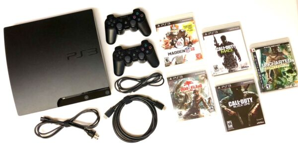 SONY PLAYSTATION 3 PS3 SLIM 320 GB Console Bundle : 2 OEM Controllers + 5 Games