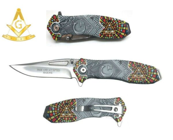 8quot; Masonic Vintage Assisted Silver Pocket Knife Square and Compasses Freemason $16.95