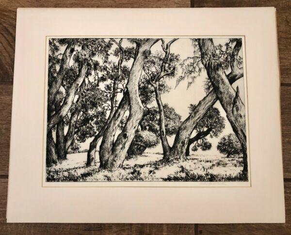 1939 Signed Alfred Ray Burrell Original B & W Art Etching Trees