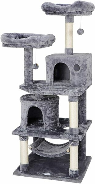 57quot; Cat Tree Condo Pet Furniture Play House with Perches Hammock Cozy Castle $64.99