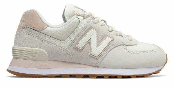 New Balance Women's 574 Shoes Off White with Pink
